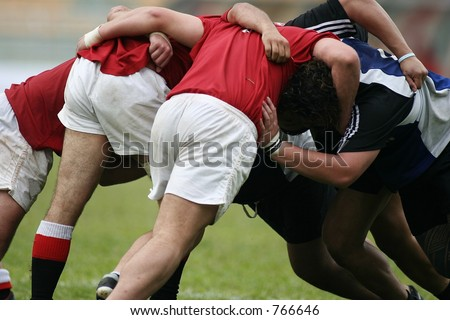 Rugby in action - stock photo