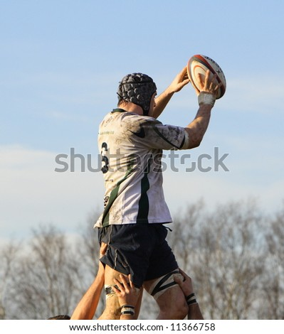 rugby line out - stock photo