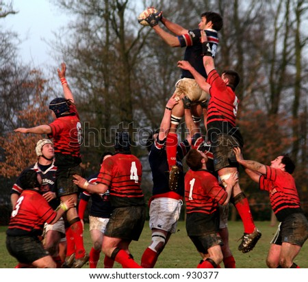 Rugby Line-Out - stock photo