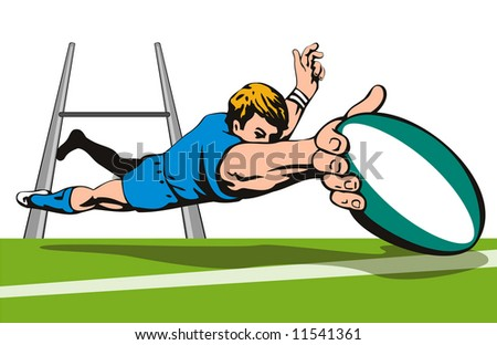 Rugby player diving to score between the post - stock photo