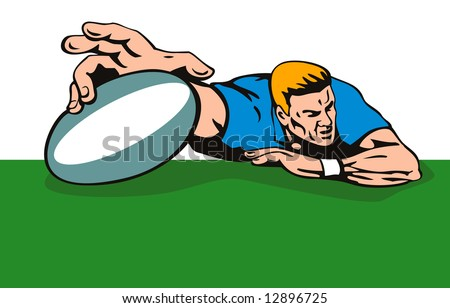 Rugby player grounding the ball - stock photo