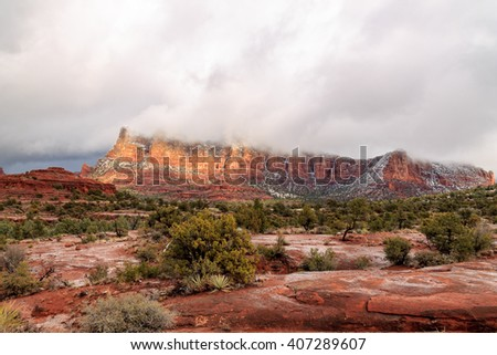 Rugged and majestic red sandstone landscape of Sedona, Arizona - stock photo