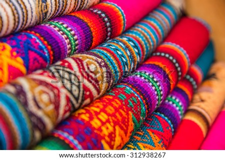 Rugged andean textile and fabrics. - stock photo