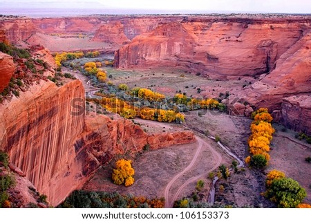 Rugged Canyon de Chelly National Park in Arizona in autumn - stock photo