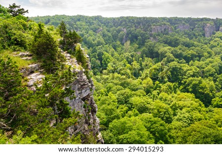 Rugged Cliff at Mount Magazine State Park - stock photo