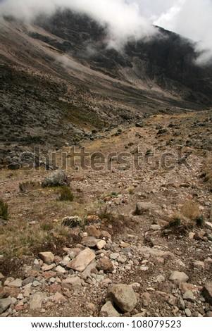 Rugged Landscape at Mt Kilimanjaro in Tanzania, Africa - stock photo