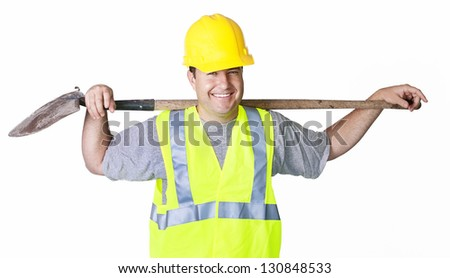 Rugged Male Worker isolated on white - stock photo