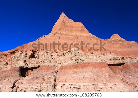 Rugged rock formations of the Badlands National Park in South Dakota - stock photo