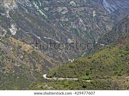 Rugged terrain of Kings Canyon National Park in the Southern Sierra Nevada Mountains, California U.S.A. - stock photo