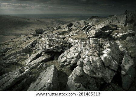 Rugged Wild Landscape - Dartmoor UK - stock photo