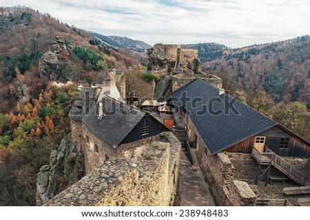 Ruin Aggstein in Lower Austria in the autumn - stock photo