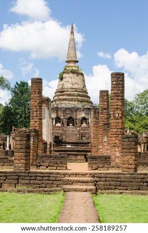 ruin church and stupa at Wat Chang Lom, Sukhothai, Thailand - stock photo