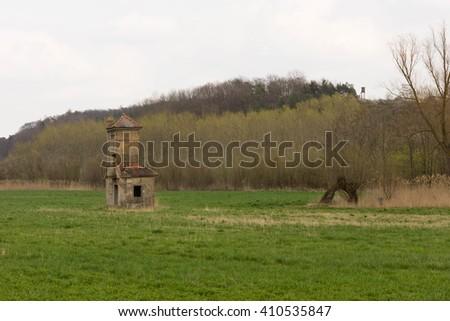 Ruin in a green landscape - stock photo