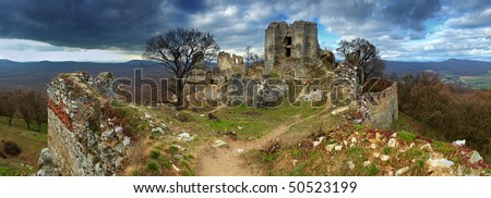 Ruin of castel Gymes - stock photo