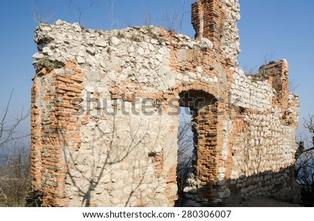 Ruin of the medieval castle - stock photo