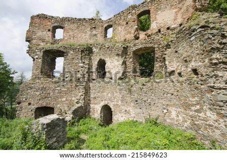 Ruin of the medieval castle Cimburk, Czech Republic - stock photo