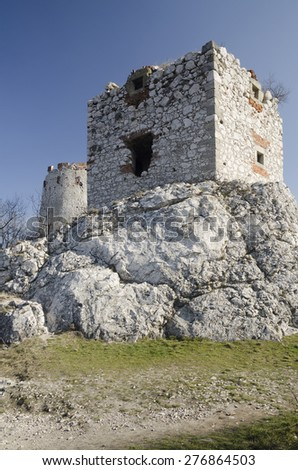 Ruin of the medieval central-european castle Devicky in Czech republic - stock photo
