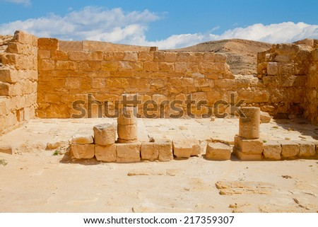 Ruined ancient chapel in Nabathean city of Mamshit in Negev Desert - stock photo