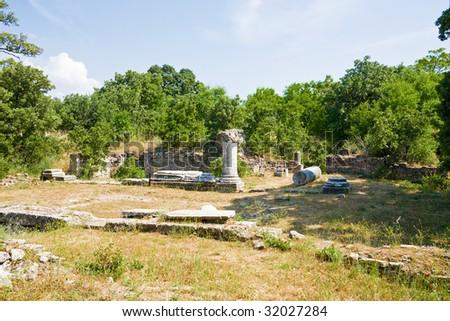 Ruined building in legendary Troy, Turkey - stock photo
