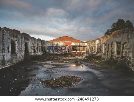 Ruined building. The building has not roof - stock photo