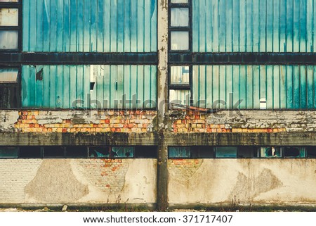 Ruined building wall - stock photo