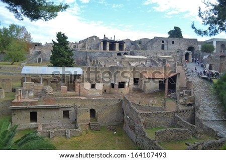 Ruined buildings of the ancient city of Pompeii Italy - stock photo
