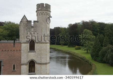 Ruined castle in the Meise Botanic garden in Belgium - stock photo