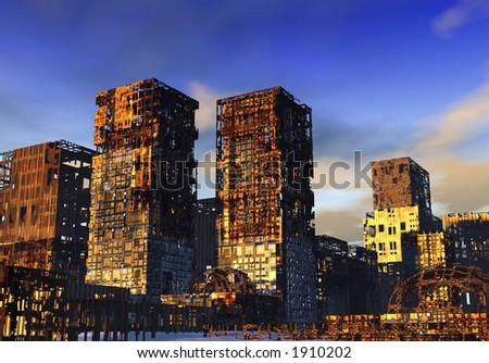 Ruined City - stock photo