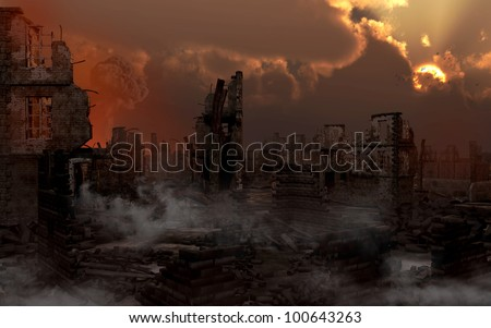 Ruined city with smoke - stock photo