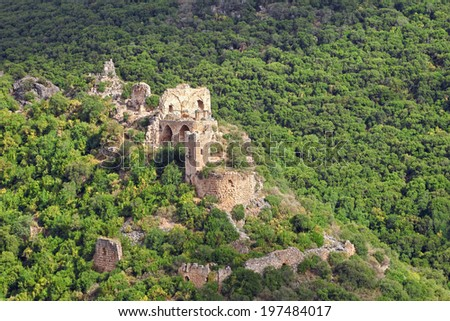 """Ruined Crusaders Montfort castle  ( """"Mountain Fortress"""" ) in the Upper Galilee mountains National park, in the north of Israel - stock photo"""