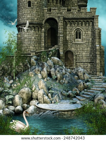 Ruined fantasy castle by the lake with swans - stock photo