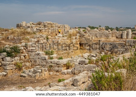 Ruined fortifications in the ancient city of Selinunte, Sicily, Italy - stock photo