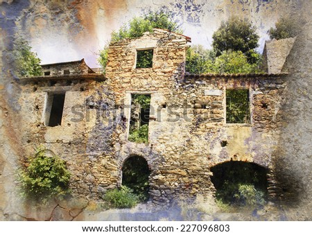 ruined house - Gairo Vechio, Sardinia, Italy - vintage styled Picture with patina texture - stock photo