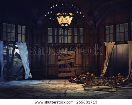Ruined mansion in a dark forest with bones and skulls - stock photo