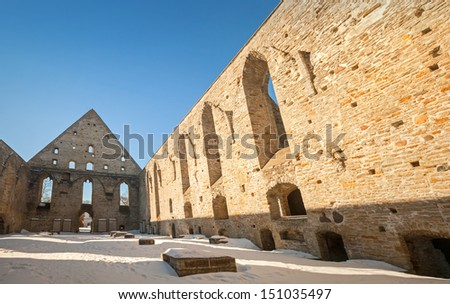 Ruined St. Brigitta convent in Pirita area, Tallinn, Estonia - stock photo