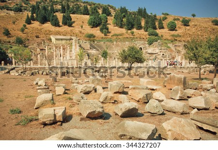 Ruined street of ancient city Ephesus with broken walls and columns, founded on 10th century BC. Turkey landmark.  - stock photo