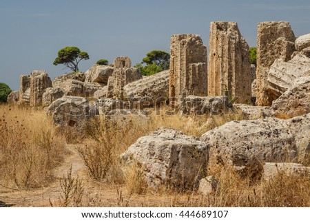 Ruined temple in the ancient city of Selinunte, Sicily, Italy - stock photo