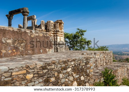 Ruined temple in the Kumbhalgarh fort complex, Rajasthan, India, Asia - stock photo