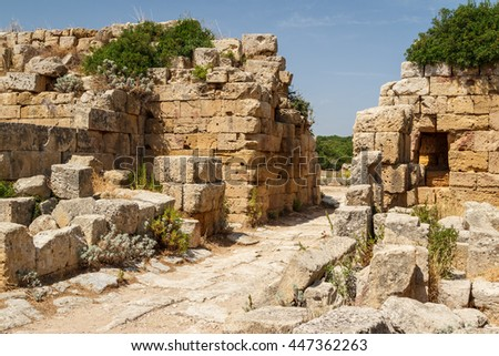 Ruined town gate in the ancient city of Selinunte, Sicily, Italy - stock photo