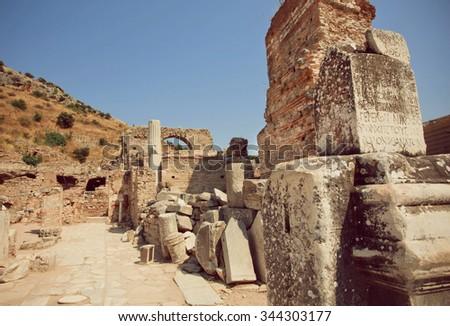 Ruined walls of Greek-Roman city Ephesus, Turkey. Ancient city Ephesus was founded on 10th century BC.   - stock photo