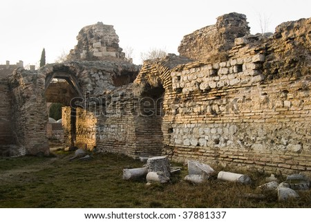 Ruined walls of the Roman Baths of Odessos, Varna, Bulgaria - stock photo