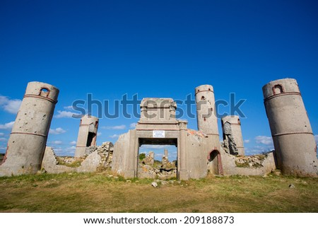 Ruines of the Manor of Saint-Pol Roux at the Pointe de Pen Hir. Brittany, France. - stock photo
