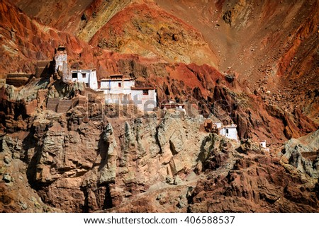 Ruins and Basgo Monastery surrounded with stones and rocks , Leh, Ladakh, Jammu and Kashmir, India - stock photo