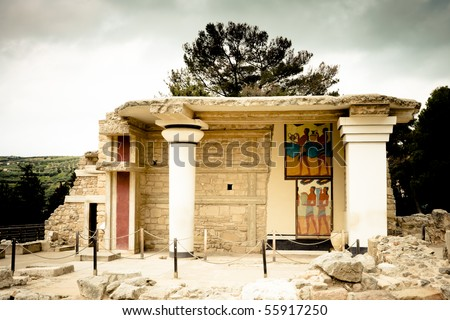 Ruins at Knossos Archeological Site in Crete, Greece - stock photo