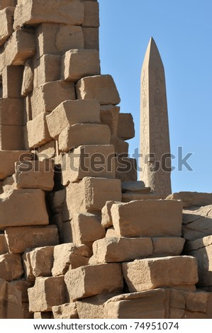 ruins at the ancient Egyptian temple of Amun at Karnak, Luxor in Egypt - stock photo
