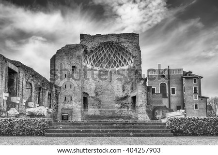 Ruins at the Temple of Venus in Roman Forum, Rome, Italy - stock photo
