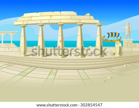 Ruins. Illustration of ruins of an ancient city, with an old-time sailing ship, a blue sea and sky in the background. Empty space leaves room for design elements or text. Poster. Postcard. Background. - stock photo
