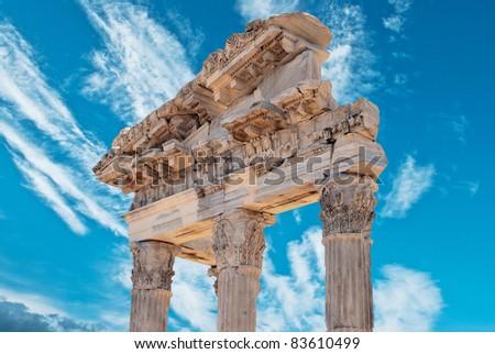 ruins in ancient city of Pergamon, Turkey - stock photo