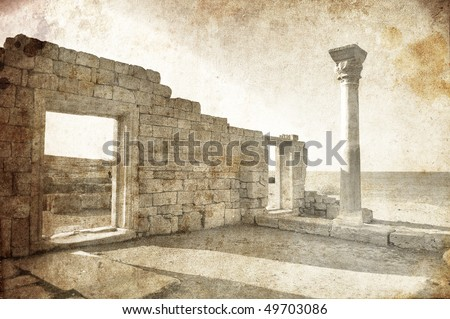 Ruins in Hersones, Ukraine, Crimea. Photo in old image style - stock photo