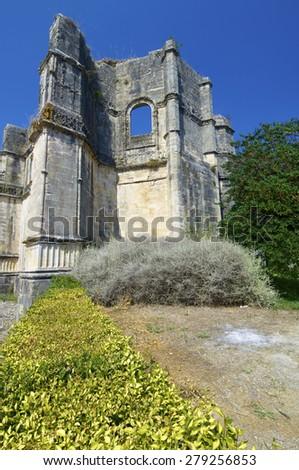 Ruins in Templar convent  of Christ, Tomar, Ribatejo, Portugal. - stock photo